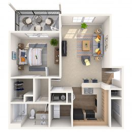 One Bedroom Floor plan A1A