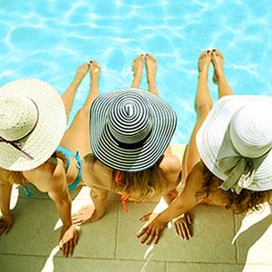 Woman Lounging at Pool